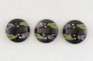 アンティークガラスボタン/黒たなびき