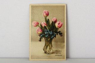 石版印刷のポストカード(チューリップと忘れな草)