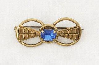 ヴィンテージブローチ/青ガラス結び目のリボン