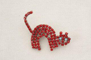 ラインストーンのブローチ/猫(赤×水色目)
