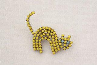 ラインストーンのブローチ/猫(黄×水色目)