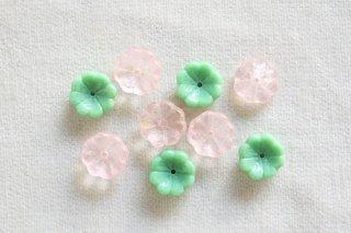 ビーズ/あじさい 緑ピンクMIX