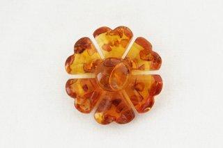 琥珀のブローチ/ハートの花