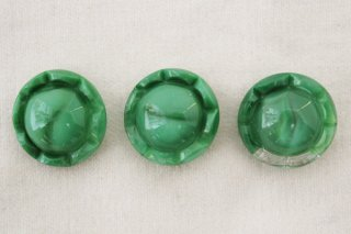 ヴィンテージガラスボタン/緑の小山