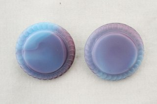 ヴィンテージガラスボタン/水色〜紫