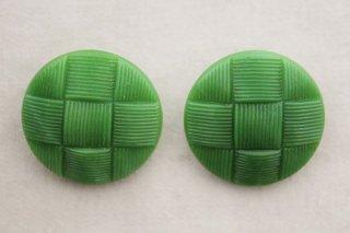 ヴィンテージガラスボタン/緑の編み模様