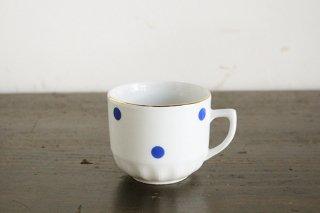 ボヘミア社の水玉マグカップ(青)/チェコ