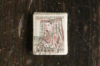 民俗衣装の女性の切手(3)/チェコ