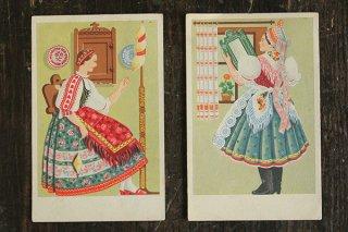民俗衣装の葉書(糸紡ぎ)/ハンガリー