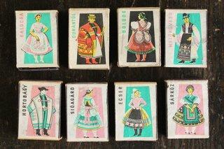 民俗衣装のラベル付きマッチ箱セット/ハンガリー