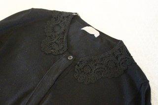 ヴィンテージつけ襟/黒編み