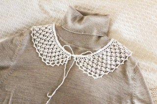 ヴィンテージつけ襟/白幅編み