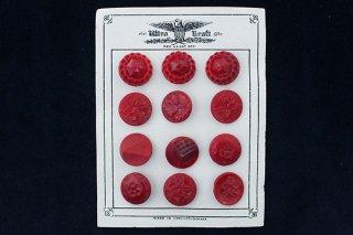 ガラスボタンのシート/深い赤バリエ