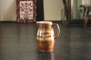 陶器のジャグ/茶色のクロス模様縦長/チェコ