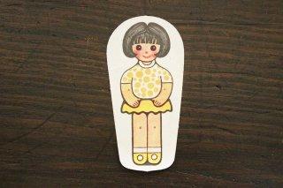 紙人形/水玉服女の子(黄×黒髪)