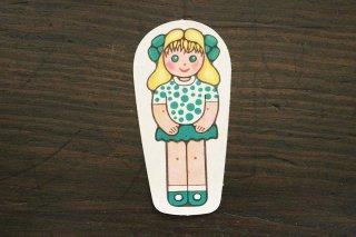 紙人形/水玉服女の子(緑×金髪)