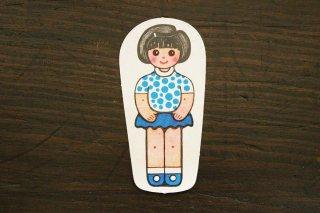 紙人形/水玉服女の子(青×黒髪)