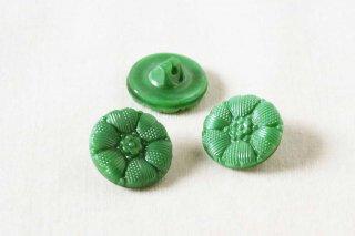 ヴィンテージガラスボタン/緑ハート花