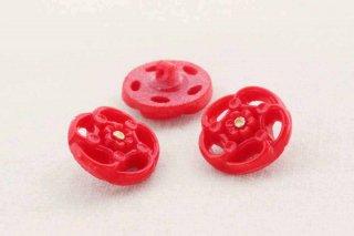 アンティークガラスボタン/赤い風花