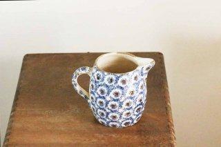陶器のジャグ/藍色と茶のにじみ模様/ドイツ