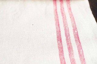 手織りの麻混生地 40cm幅 赤ライン/ドイツ