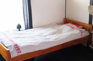 赤のカーネーション模様のベッドカバー/ルーマニア