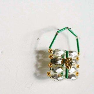 ガラスのオーナメント(緑の持ち手のバッグ)/チェコ