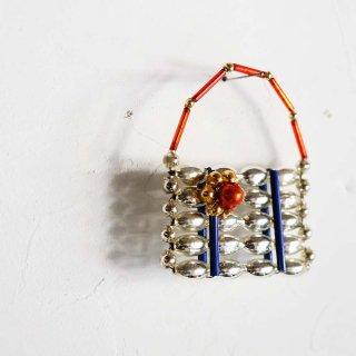 ガラスのオーナメント(オレンジの持ち手のバッグ)/チェコ