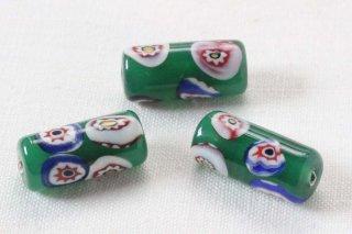 とんぼ玉/円柱型緑お花