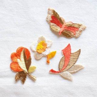 ヴィンテージ刺しゅうモチーフセット/オレンジの花と蝶(ドイツ)