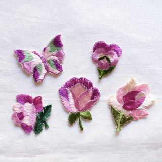 ヴィンテージ刺しゅうモチーフセット/紫の花と蝶(ドイツ)