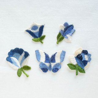 ヴィンテージ刺しゅうモチーフセット/青い花と蝶 大(ドイツ)