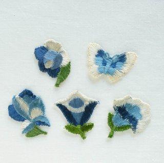ヴィンテージ刺しゅうモチーフセット/青い花と蝶 小(ドイツ)