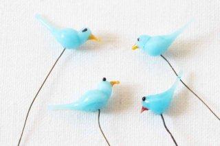 ガラス製の小鳥パーツ/水色