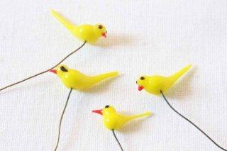 ガラス製の小鳥パーツ/黄色
