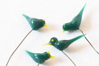 ガラス製の小鳥パーツ/マット緑