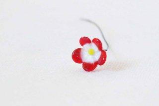 ガラス製のお花パーツ/ちび赤白の花