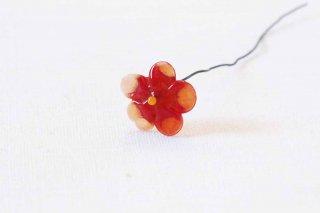 ガラス製のお花パーツ/意味深な赤い花
