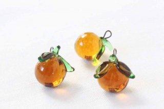 ガラス製の果物パーツ/桃ブラウン