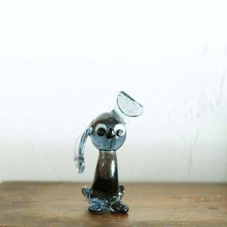 ボヘミアンガラスの犬 グレー/チェコ