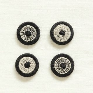 チェコの糸ボタン/19mm (黒×ペヨーテグレー)
