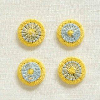 チェコの糸ボタン/19mm (柔レモン×水色)