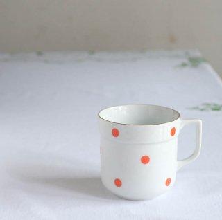 水玉模様のマグカップ(朱赤)/チェコ