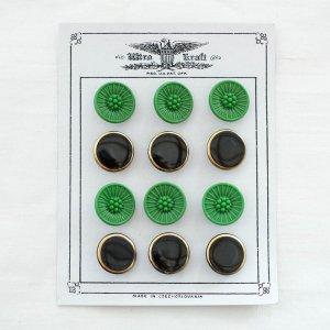 ガラスボタンのシート/緑花黒丸