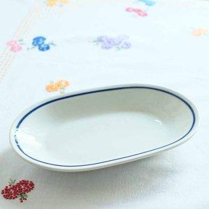 青いラインのオーバルのお皿/ハンガリー
