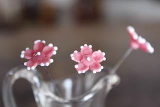 ガラス製の花のピック/サボテン/ピンク