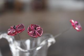 ガラス製の花のピック/三角草/ピンク
