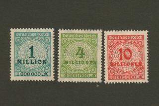 ドイツのインフレ切手/1・4・10