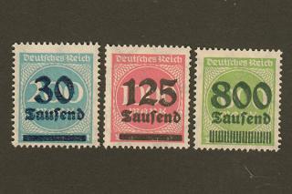 ドイツのインフレ切手/30・125・800