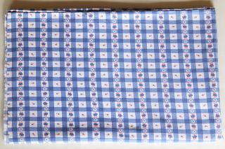 ヴィンテージファブリック/青チェックのバラ紫系